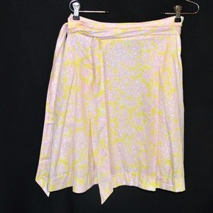 Lilly Pulitzer Yellow & Pink Floral Skirt Size 4